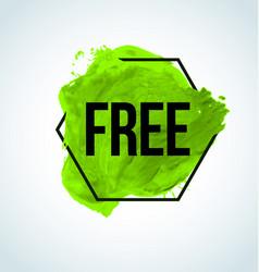 green watercolor free item label vector image
