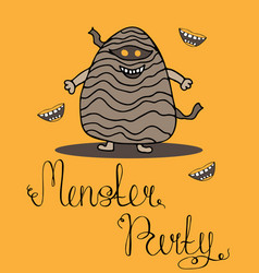 halloween greeting card for monster party vector image