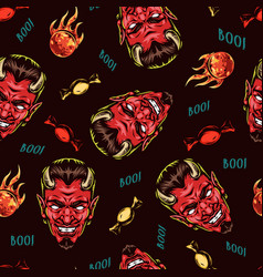 happy halloween colorful seamless pattern vector image
