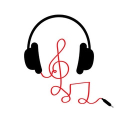 Headphones with treble clef note red cord and word vector image