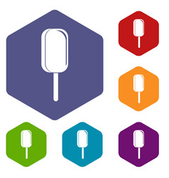ice cream icons set hexagon vector image