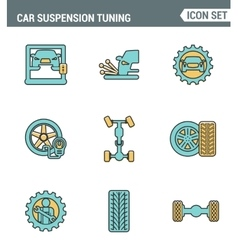 Icons line set premium quality of car suspension vector image