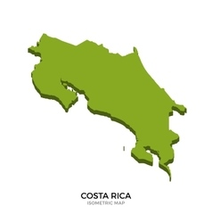 Isometric map of Costa Rica detailed vector image