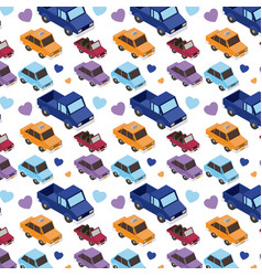 isometrics cars and hearts pattern background vector image