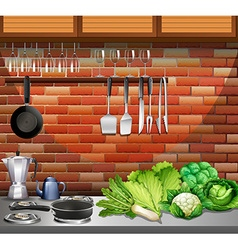 Kitchen with utensils and vegetables vector image