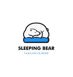 lazy sleeping white polar bear in blue pillow vector image