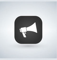 loudspeaker icon black app button with shadow vector image
