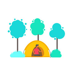 man in tent in forest trees and bushes isolated vector image