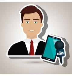 Man news smartphone reportage vector