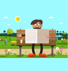 man on bench in park reading newspapers with vector image
