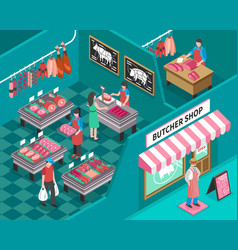 meat shop isometric vector image