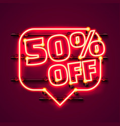 message neon 50 off text banner night sign vector image