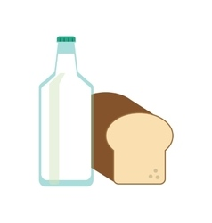 milk bottle and bread icon vector image
