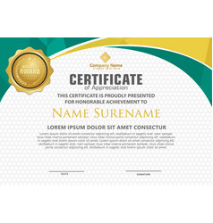 modern certificate template with polygonal flow vector image