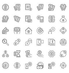 money linear icons set - dollar cash line vector image