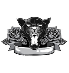 monochromatic panther snake roses tattoo graphic vector image
