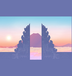 Morning sky with mountain and traditional balinese vector