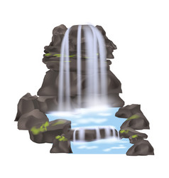 Mountain waterfall isolated icon vector