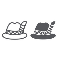 oktoberfest hat line and glyph icon bavarian and vector image