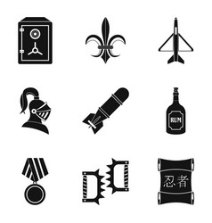 Ordnance icons set simple style vector