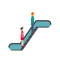 People at escalator icon flat style vector