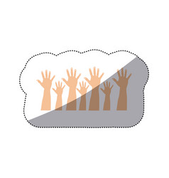 People hands up together vector