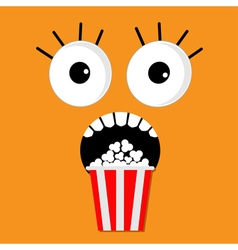 Popcorn screaming orange face vector