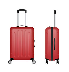 red detailed rolling suitcase roller aboard vector image