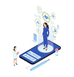 remote body scanning isometric patient hologram vector image