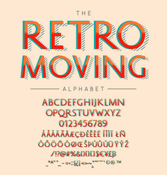 retro moving font and alphabet with numbers vector image