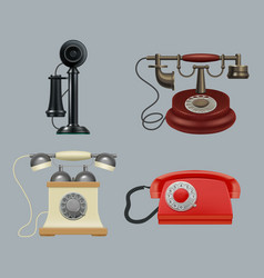 retro phones realistic old style vintage gadgets vector image