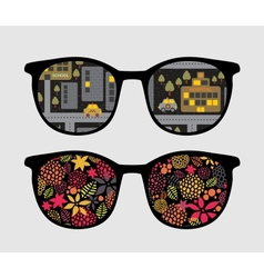 Retro sunglasses with night reflection in it vector