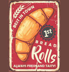 Rolls poster sign design in retro style vector