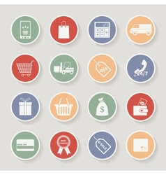 Round shopping icons vector image