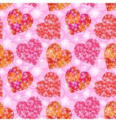 Seamless Pattern Hearts with Butterflies vector image vector image