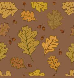 Seamless pattern with oak leaves and acorns vector