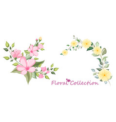 set floral branch with flower and green leaves vector image
