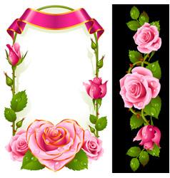set floral decoration pink roses green leaves vector image