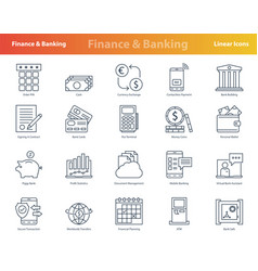 set linear finacial outline icons vector image