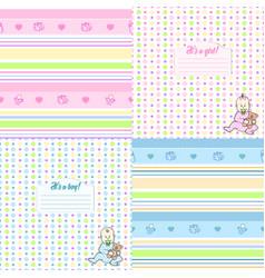 Set of cute seamless pattern for newborn vector