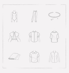 set of garment icons line style symbols with polo vector image