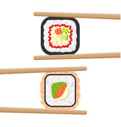 Set of yummy colored sushi rolls with chopsticks vector