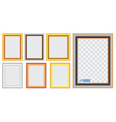set realistic gold frame template vector image