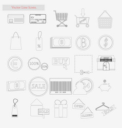 shop set style line icons on white vector image