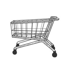 shopping cart sketch engraving vector image