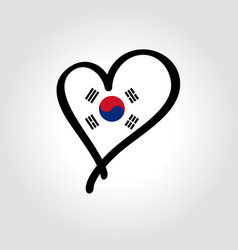 South korean flag heart-shaped hand drawn logo vector