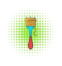 Spaghetti on a fork icon comics style vector