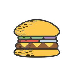 Tasty and fresh hamburger fast food vector