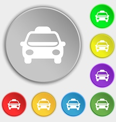 Taxi Icon sign Symbol on eight flat buttons vector image