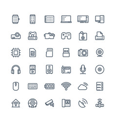 thin line icons set with digital vector image
